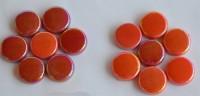 Glas Mosaiksteine rund 20mm Rotmix Stärke 6mm 100g ca. 22 St.