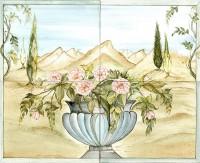 bemalte Wandfliesen 40x50 cm  Blumenvase-2