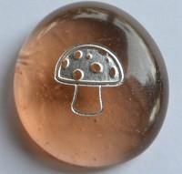 Glasnuggets eingravierter Fliegenpilz 25-30mm 1Stück ca.10g