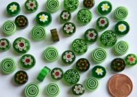 Millefiori Glas Mosaiksteine rund Grünmix 7-15mm 30g ca.25-30St.