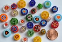 Millefiori Glas Mosaiksteine rund bunt 7-12mm 30g ca.25-30St.