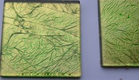 Glas Mosaiksteine Softglas 5x5cm Blattstruktur grün 1 St. ca24g