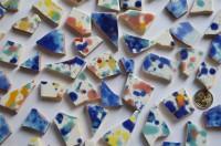 Bruchmosaik handbemalt dann gebrochen bunt-blue 10 St. ca. 110g