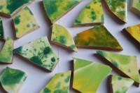 Bruchmosaik handbemalt dann gebrochen bunt-green 10 St. ca. 110g