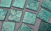 Glas Mosaiksteine Softglas 5x5cm Blattstruktur blau 1 St. ca24g