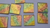 Glas Mosaiksteine 5x5cm Blattstruktur Muster N2, 1 St. ca24g