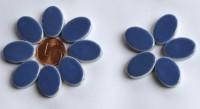 Keramik Mosaiksteine oval 22-23 mm blau 10 St.- ca. 15g