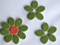 Keramik Mosaikteine Set: 10 oval grün und 10 rund bunt ca. 35g