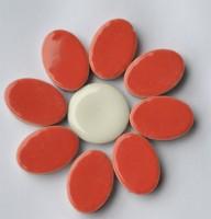 Keramik Mosaikteine Set: 10 oval rot und 10 rund bunt ca. 35g