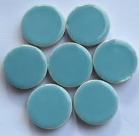 Keramik Mosaiksteine rund glanzend 17-18 mm hellblau 10 St.- 20g