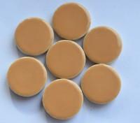 Keramik Mosaiksteine rund glanzend 17-18 mm beige 10 St.- 20g