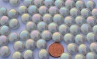 Mosaiksteine irisierend rund 12mm weiß Stärke 6mm 50g, ca. 32St.