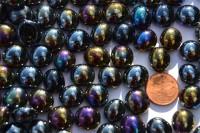 Glasnuggets 10-12mm schwarz opak irisierend, NICHT transp. 70g, ca50St.