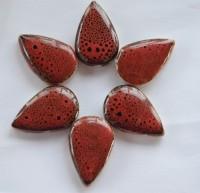 Mosaiksteine Keramik Tropfenform Leopard-rot 6 St. - ca. 25g