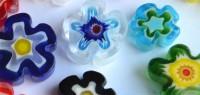 Millefiori Glas Mosaiksteine Blüten bunt 10-15mm 5 St. ca. 5g