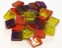 Eis Glas Mosaik 15x15mm transpa. gelb-rot- mix 200g, ca. 100 St.