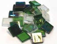 Eis Glas Mosaiksteine 15x15mm transpa. grün mix 200g, ca.100 St.