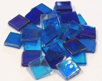 Eis Glas Mosaiksteine 15x15mm transpa. blau mix 200g, ca.100 St.