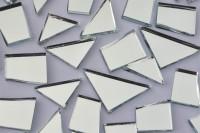 Spiegel- Mosaiksteine Formen-Mix 15-35mm silber 105g ca. 48 St.