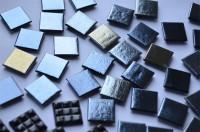 Glas Mosaiksteine schwarz hochglänzend 2x2 cm 50 St.- ca. 145g