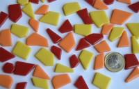 Glas Mosaiksteine unreg. Sonnenmix 1-2cm 100g,  ca. 45-50 St.