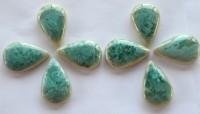 Mosaiksteine Keramik Tropfenform grün mit effekt 6 St. - ca. 25g