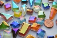 Soft-Glas Mosaiksteine unregelm. irisierend bunt 100g, ca.50 St.