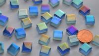 Soft Glas Mosaiksteine Blaumix irisierend 1x1cm 100g, ca. 115 St