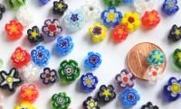 Millefiori Mini Blüten bunt 5-10mm, 10g, ca. 20 Stück