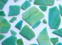 Tiffany Glas blau-grün marmoriert 200g Glasstücke ca. 20-30St.