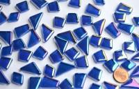 Glas Mosaiksteine unregelm. irisierend dunkelblau 100g, ca.50St.
