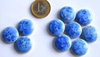 Keramik Mosaiksteine rund mit Effekt blau ca. 20mm, 10 St.- 30g