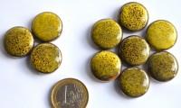 Mosaiksteine rund Tupfenmuster Leopard gelb ca. 20mm, 10 St.- 30