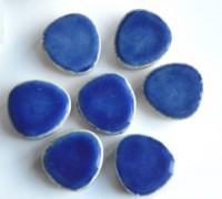 Mosaiksteine Set 7 Pebbles blau Blüte 2cm Keramik ca. 32g