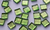 Glas Mosaiksteine mit Blattstruktur Muster grün, 15x15mm 30 St.- ca.58g