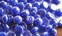 Glasnuggets 10-12mm kobaltblau opak irisierend, NICHT transp. 70g ca. 50St.
