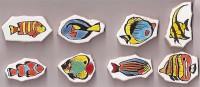 Bruchfliesen Fisch handbemalt 8 Stück- ca. 150 g.