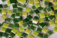 Mini Mosaiksteine Keramik Mixgrün 1x1cm 100 St.- ca. 100g.