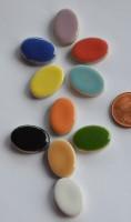 Keramik Mosaik Basteln oval 22-23 mm bunt 10 St.- ca. 15g