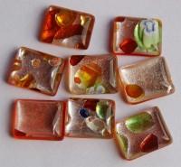 Edel Glasmosaik Mix-lachs mit Muster 10x12mm 8 St.- ca. 7g