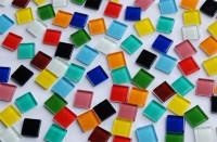 Crystal Mosaiksteine (Soft-Glas) bunt 2x2 cm 104 St.- ca. 380g