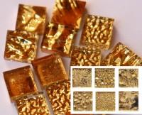 Gold Mosaiksteine Mix Gelbgold 1x1cm 12 St.- ca. 10g.