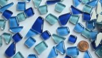Glas- Mosaiksteine unregelmäßig Blaumix 200g ca.130-150St.