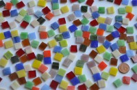 Tiffany Glas Mosaiksteine Buntmix 1x1cm 150g. ca 210 St.
