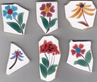 Bruchfliesen Blumen handbemalt 6 Stück- ca. 110g.