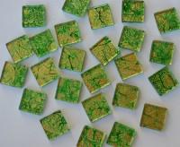 Softglas Mosaiksteine auffälliges Muster grün 2x2cm 30St.-ca110g