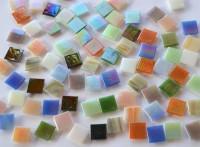 Glas Mosaiksteine schimmernd 1,5x1,5cm Buntmix 100 St.- ca. 145g