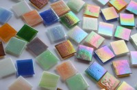 Glasmosaiksteine schimmernd 2x2 cm Buntmix 50 St.- ca. 145g