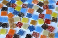 Glasmosaiksteine 1,5x1,5 cm Bunt mit Struktur 100 St.- ca. 145g