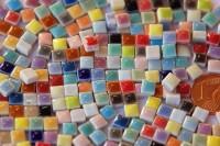 Mini Mosaiksteine bunt ca. 35 Farben 5x5mm, 20g- ca. 120-150 St.